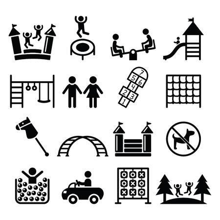 plac zabaw dla dzieci, na zewnątrz lub wewnątrz miejsce dla dzieci do zabawy zestaw ikon