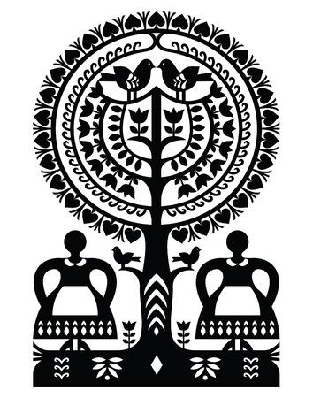 folk art: Polish monochrome folk art pattern Wycinanki Kurpiowskie - Kurpie Papercuts
