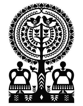 Polish monochrome folk art pattern Wycinanki Kurpiowskie - Kurpie Papercuts