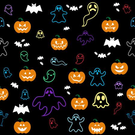 scary story: Seamless Halloween ghost, bats, pumpkins pattern on black