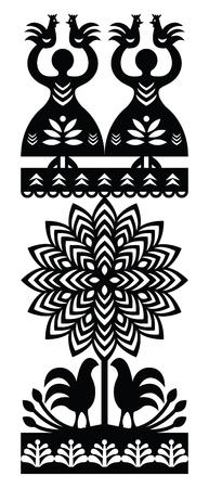 folk village: Polish folk art pattern Wycinanki Kurpiowskie - Kurpie Papercuts Illustration