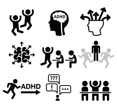 school icon: ADHD - Attention deficit hyperactivity disorder vector icons set