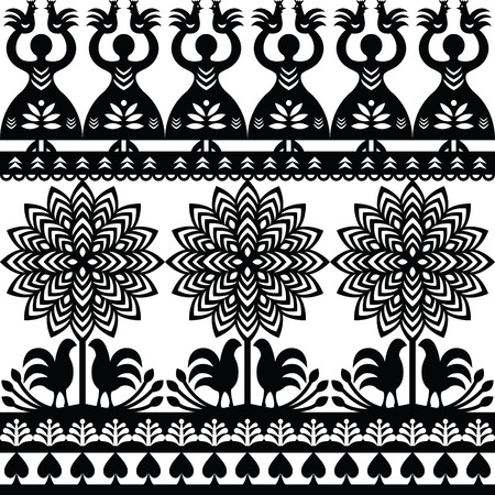 folk village: Seamless Polish folk art black pattern Wycinanki Kurpiowskie - Kurpie Papercuts