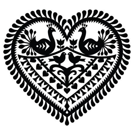 black art: Polish folk art  heart pattern for Valentines Day - Wycinanki Kurpiowskie (Kurpie Papercuts)