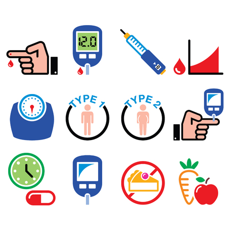 Diabetes disease, health, medical icons set