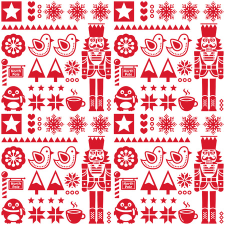 nutcracker: Christmas seamless red pattern with nutcracker - folk art style Illustration