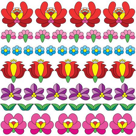 folk art: Seamless Hungarian folk art pattern - floral Kalocsai embroidery Illustration