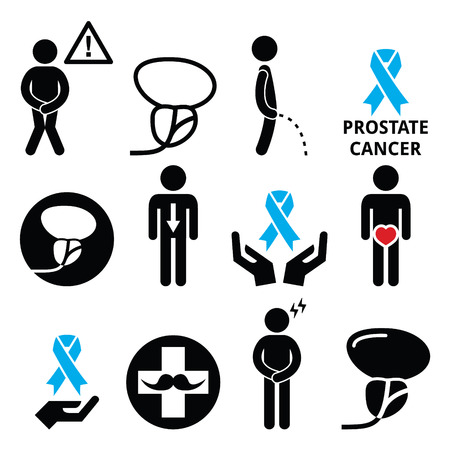 Prostate cancer awareness, mens health icons set
