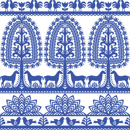 folk art: Seamless floral Polish folk art pattern Wycinanki Kurpiowskie - Kurpie Papercuts
