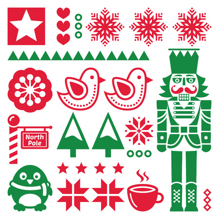 folk art: Christmas red and pattern with nutcracker - folk art style