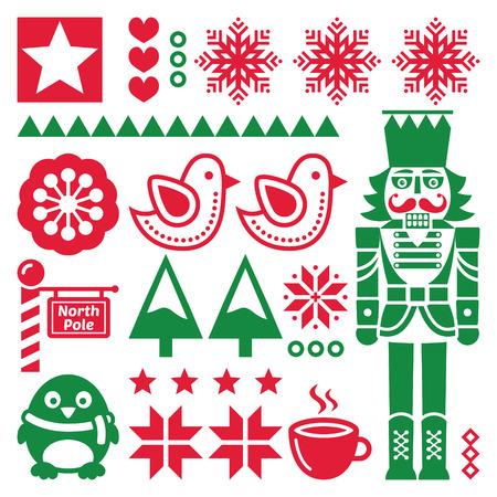 nutcracker: Christmas red and pattern with nutcracker - folk art style