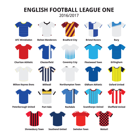 wimbledon: English Football League One jerseys 2016 - 2017 vector icons set