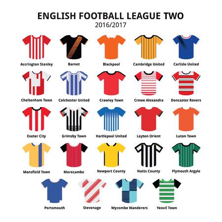 English Football League Two jerseys 2016 - 2017 vector icons set