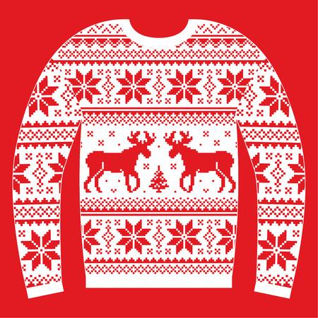 sueter: puente de Navidad feo o un suéter con renos y copos de nieve patrón de rojo y blanco