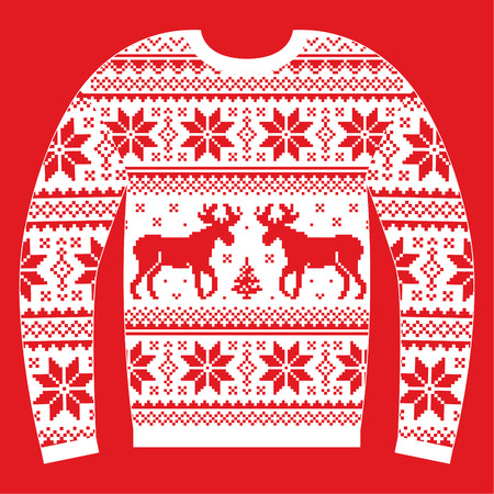 knit: Ugly Christmas jumper or sweater with reindeer and snowflakes red and white pattern