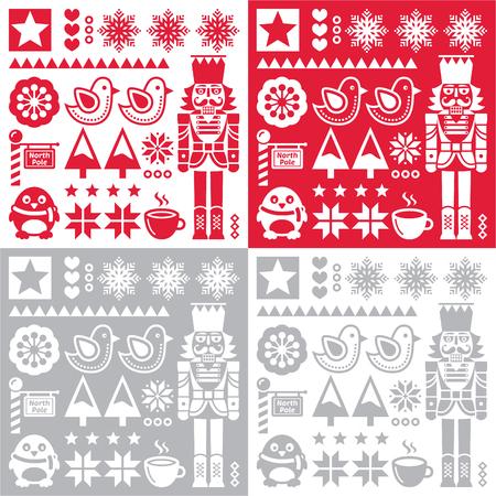nutcracker: Christmas pattern with nutcracker - set of four designs folk art style Illustration