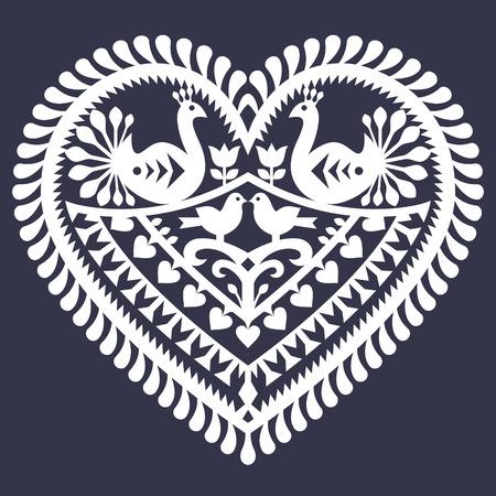 white heart: Folk heart pattern for Valentines Day - Wycinanki Kurpiowskie (Kurpie Papercuts) Illustration