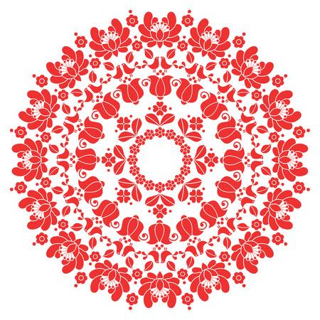 rosas rojas: Kalocsai rojo bordado floral - modelo del arte popular húngaro ronda