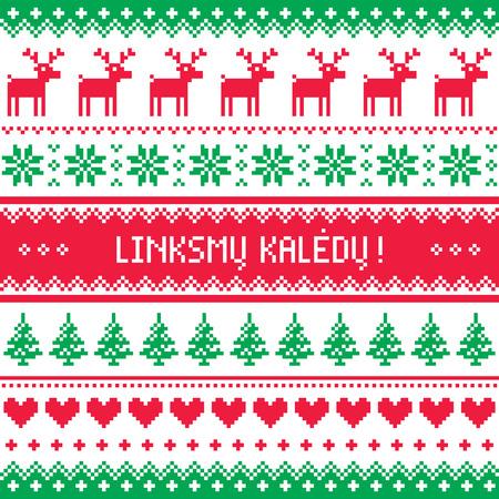 deer in heart: Linksmu Kaledu - Merry Christmas greetings card in Lithuanian - winter pattern style with reindeer