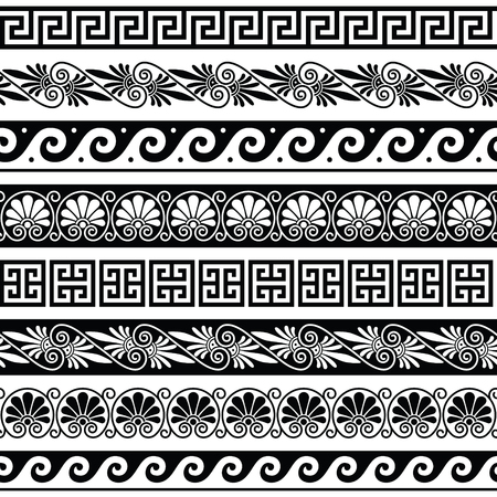 white wave: Ancient Greek pattern - seameless set of antique borders from Greece