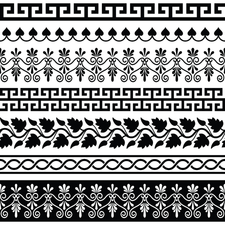 traditional pattern: Ancient Greek pattern - seamless set of antique borders from Greece Illustration