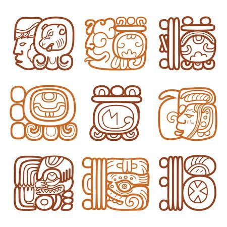 Maya glyphs, writing system and languge vector design Illustration