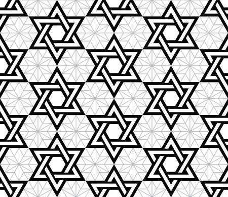 jewish star: Jewish, Star of David black seamless pattern
