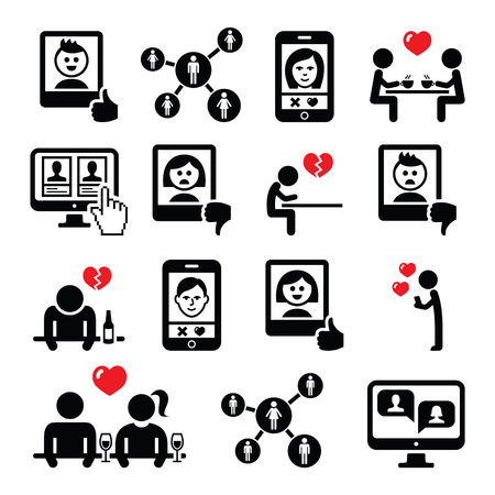woman on phone: Online dating apps, couples on date vector icons set