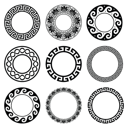 Ancient Greek round pattern - seamless set of antique borders from Greece Vettoriali