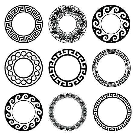 Starogrecki okrągły wzór - bez szwu zestaw zabytkowych granic z Grecji
