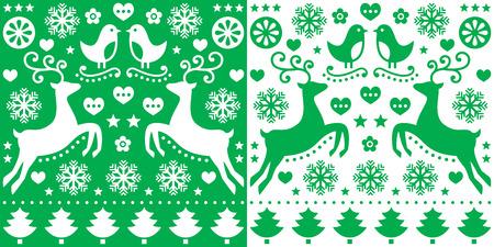 greetings card: Christmas green greetings card pattern with reindeer - folk art style