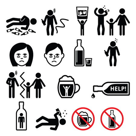 wrecked: Alcoholism, drunk man, alcohol addiction icons Illustration
