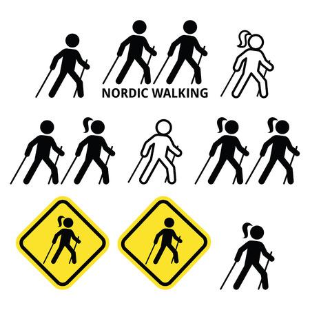 Nordic Walking, la gente que camina al aire libre con iconos de palos establecido