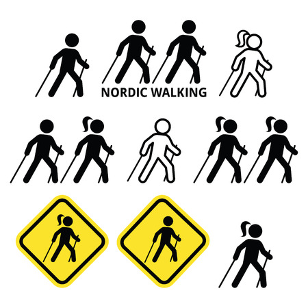 walking stick: Nordic Walking, people walking outdoors with sticks icons set