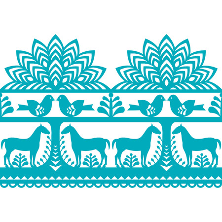 folk village: Seamless Polish folk art pattern Wycinanki Kurpiowskie - Kurpie Papercuts Illustration