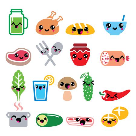 Kawaii cute food characters - meat, vegetables, drinks icons set
