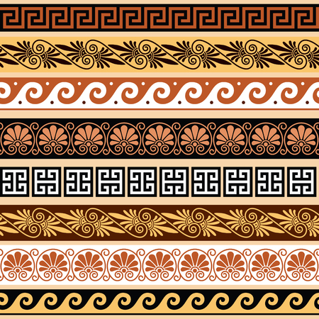 Ancient Greek pattern - seamless set of antique borders from Greece Illustration