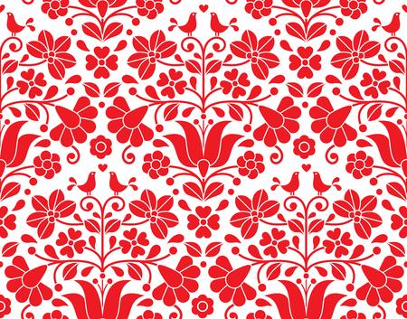 Kalocsai rode bloemen emrboidery naadloze patroon - Hongaarse volkskunst achtergrond