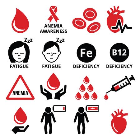 Blood, anemia, human health icons set