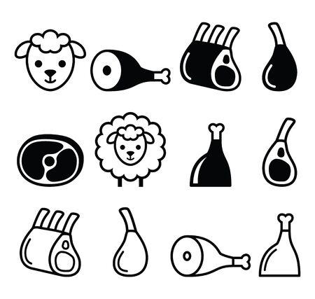 Lamsvlees, lamsbout, lam schenkel en ribben geplaatste pictogrammen
