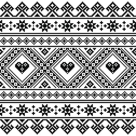 belorussian: Traditional Ukrainian or Belarusian folk art knitted black embroidery pattern