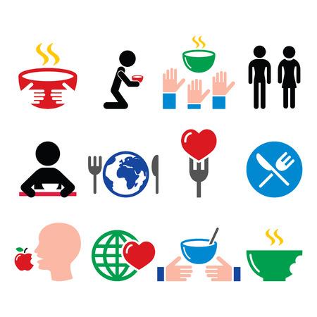 starvation: Hunger, starvation, poverty icons set Illustration