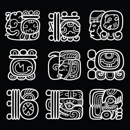 Maya glyphs, writing system and language vector design on black background Illustration