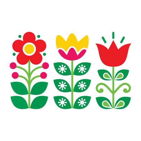 Swedish floral retro pattern - traditional folk art design