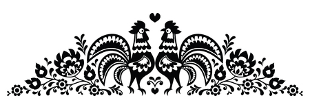 Polish floral folk art long embroidery pattern with roosters - Wzory Lowickie Illustration