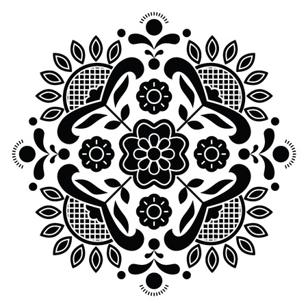 traditional pattern: Norwegian black folk art Bunad pattern - Rosemaling style embroidery