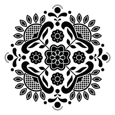 Norwegian black folk art Bunad pattern - Rosemaling style embroidery Vektoros illusztráció