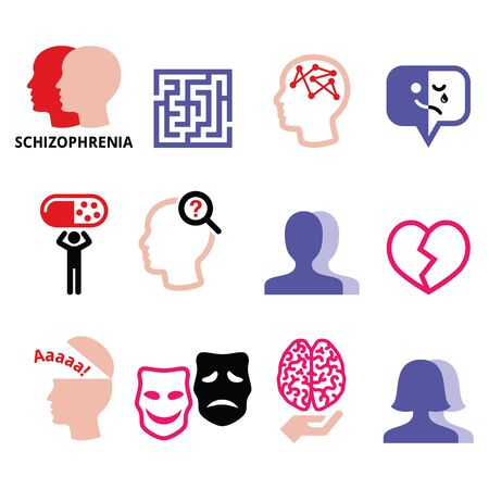 Schizophrenia, mental health, psychology vector icons set  イラスト・ベクター素材