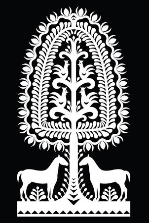 Polish monochrome folk art pattern Wycinanki Kurpiowskie Illustration