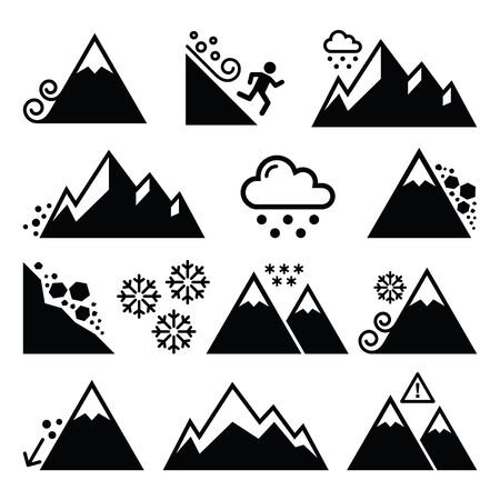 rockslide: Mountains, avalanche, snowslide- natural disaster icons set